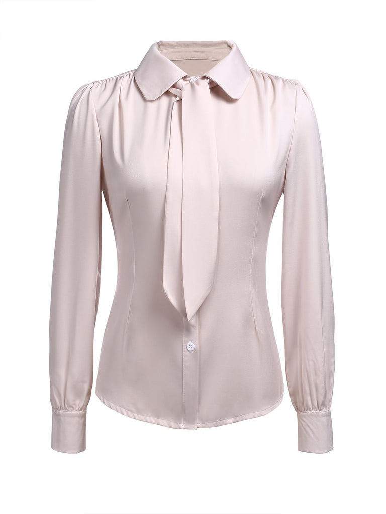 Beige Tie Button Blouse Top