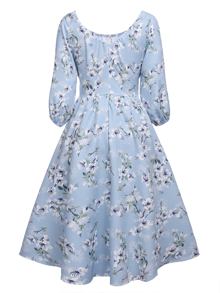 Blue 1950s Floral Pleated Swing Dress