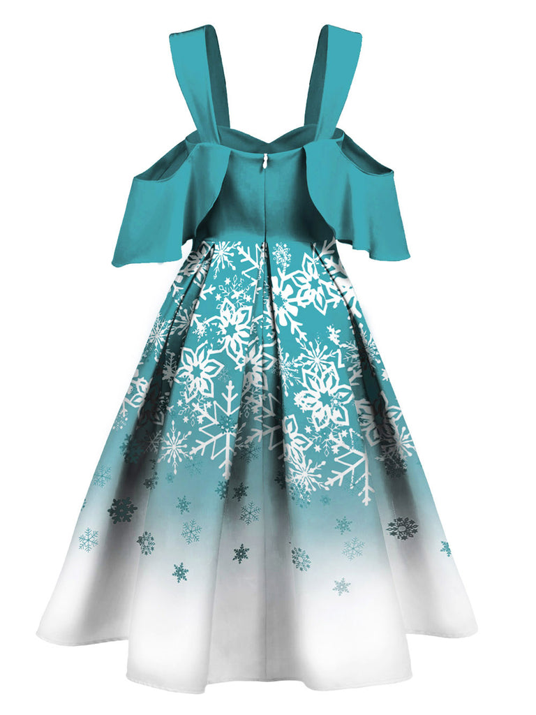 Blue 1950s Off Shoulder Snowflake Dress
