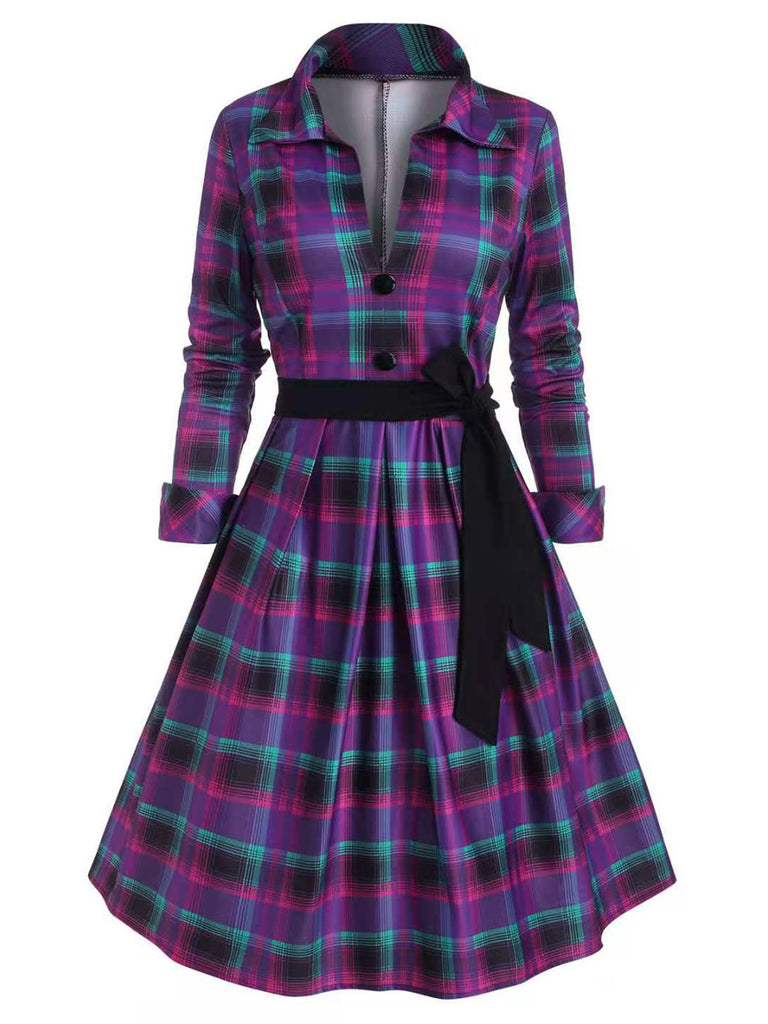 Purple 1950s Plaids Lace-Up Swing Dress