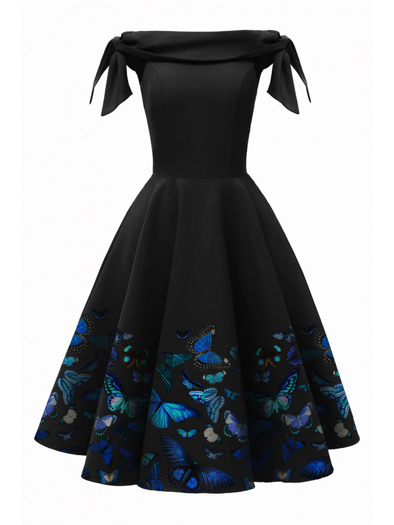 [Pre-Sale]1950s Off-Shoulder Butterfly Swing Dress