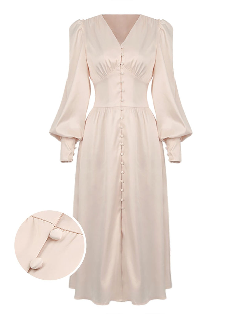 1940s Solid Silk Buttoned Tea Dress