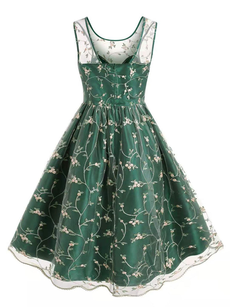 Plus Size Green 1950s Floral Swing Dress