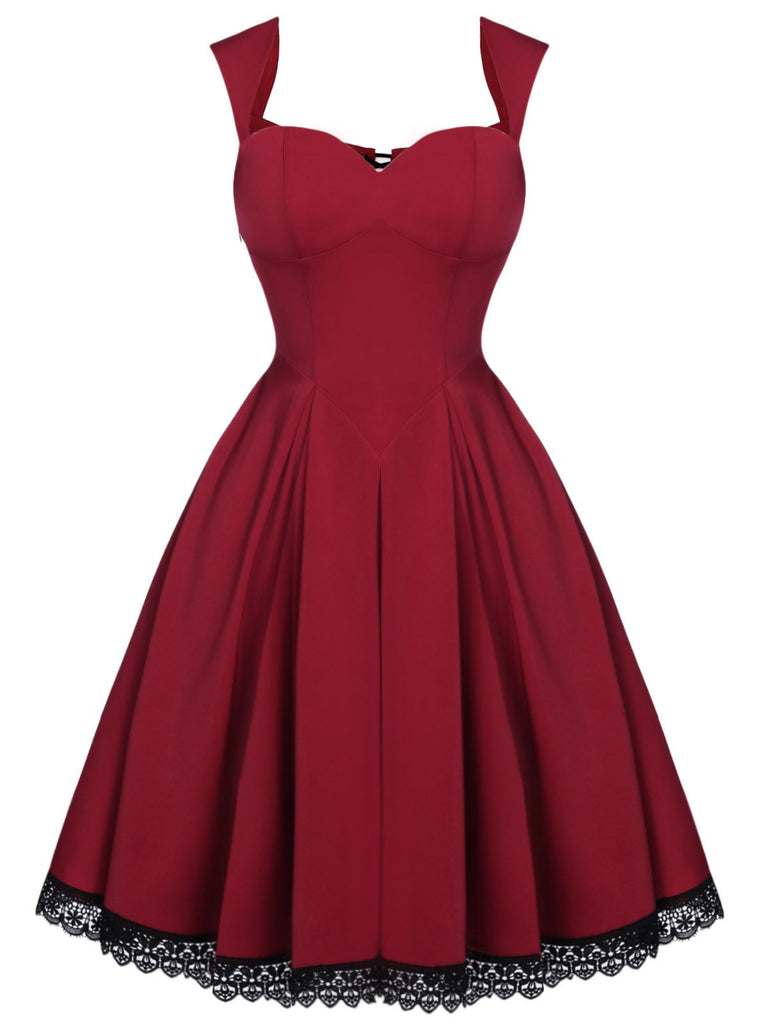 Wine Red 1950s Lace Solid Swing Dress