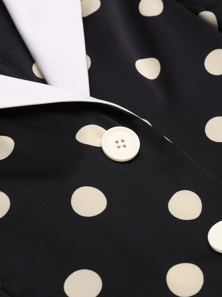 [Pre-sale]Black 1950s Polka Dots Pockets Romper