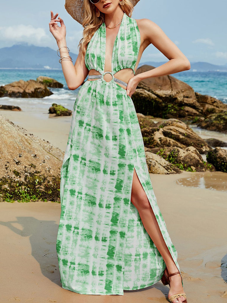 Halter Tie Dye Backless Cover-Up Dress