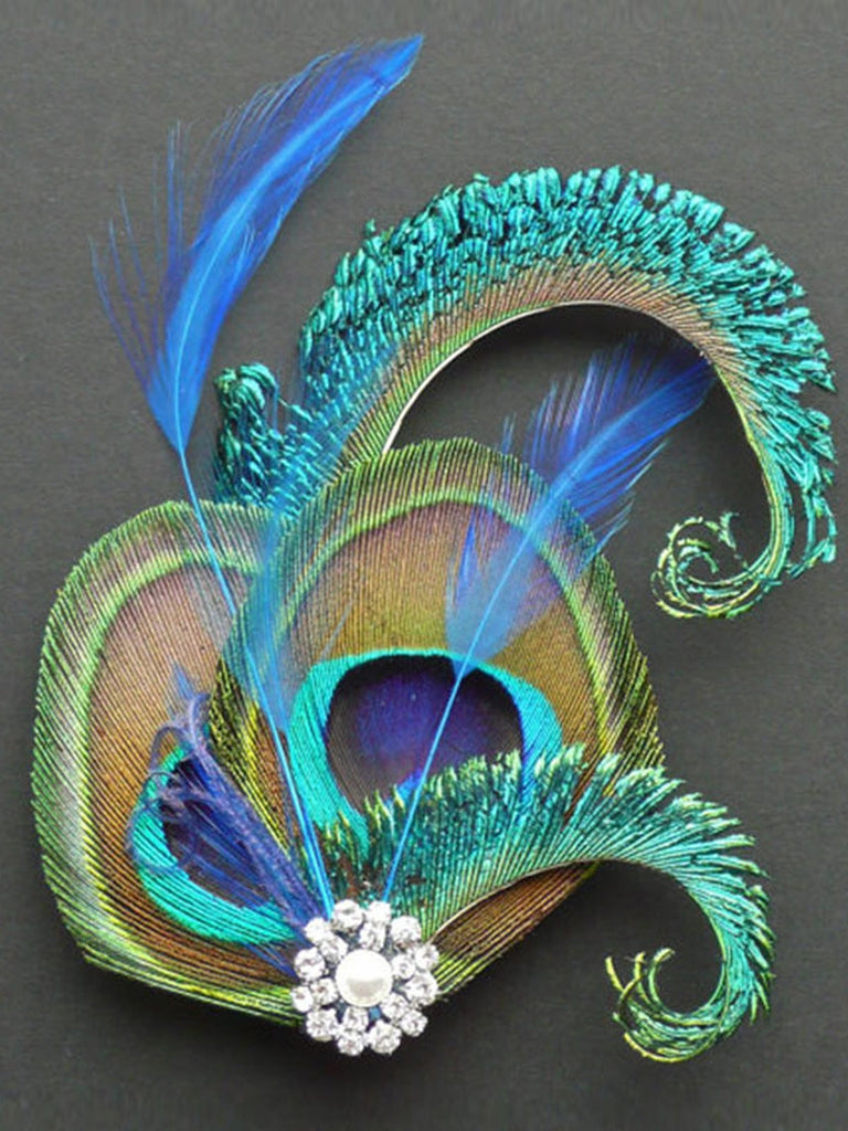 US Only 1920s Rhinestone Peacock Hair Clip