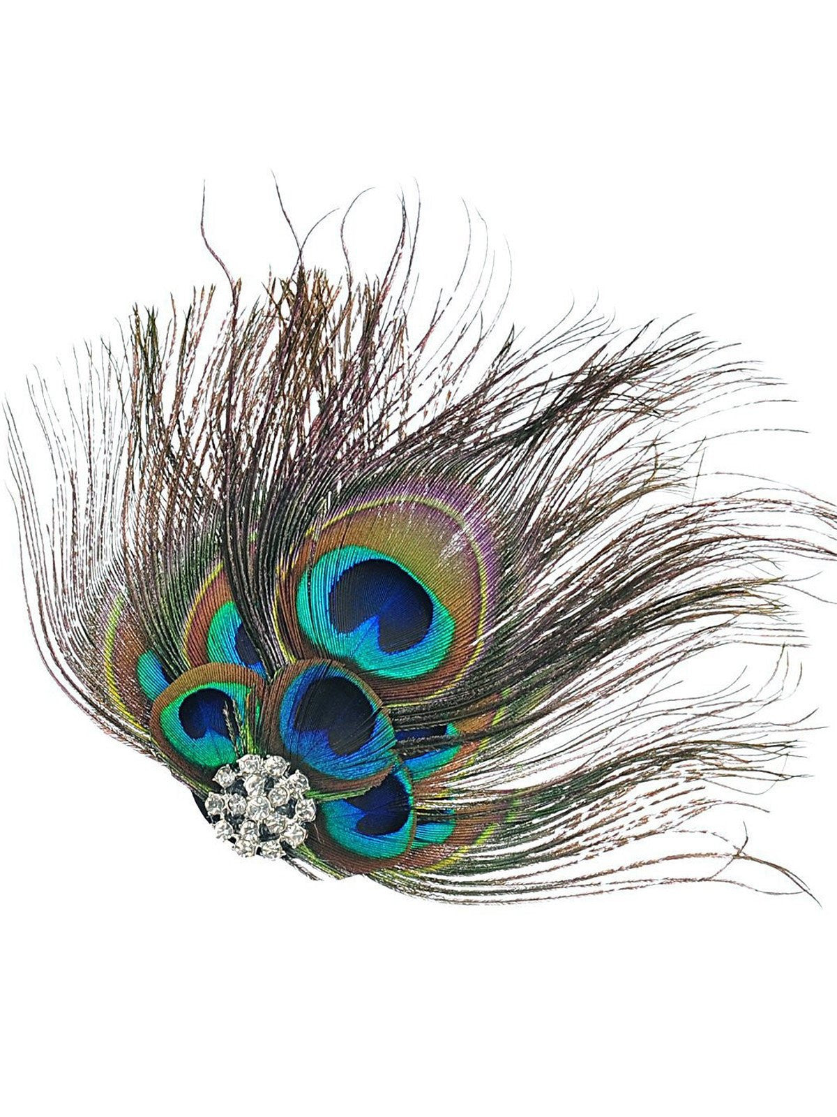 2017e7a5fa8 Green 1920s Peacock Feather Hair Clip – Retro Stage - Chic Vintage ...