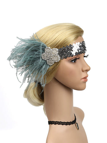 1920s Feather Elastic Headband
