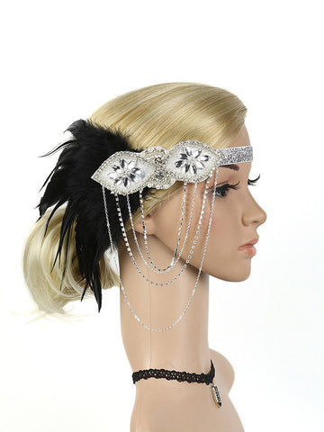 1920s Feather Fringe Elastic Headband