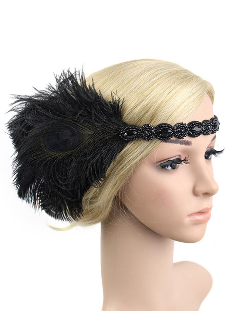US Only 1920s Feather Elastic Headband