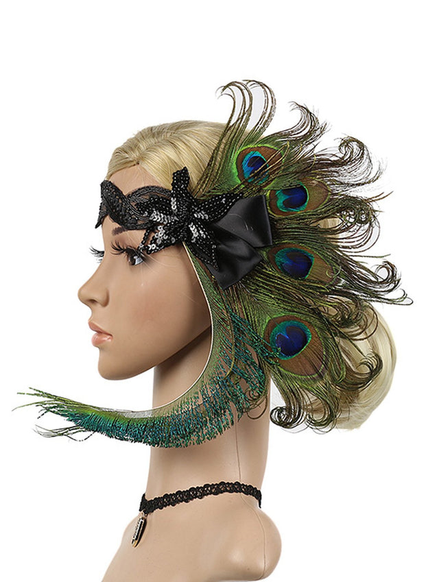 Green 1920s Peacock Feather Headband