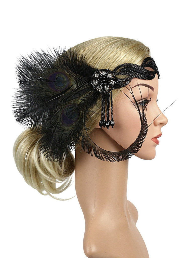 [US Warehouse] 1920s Feather Sequin Headband