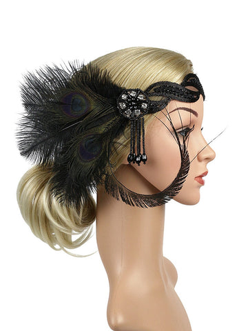 1920s Feather Sequin Headband