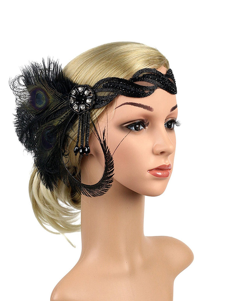 US Only 1920s Feather Sequin Headband