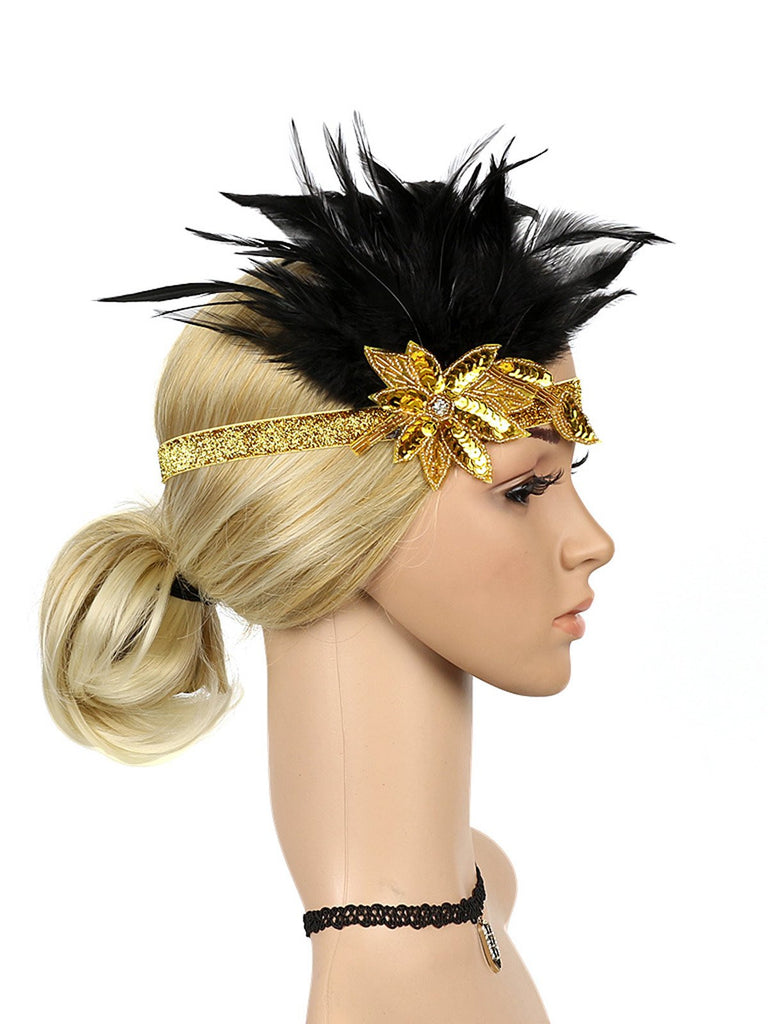 1920s Feather Sequins Rhinestone Headband