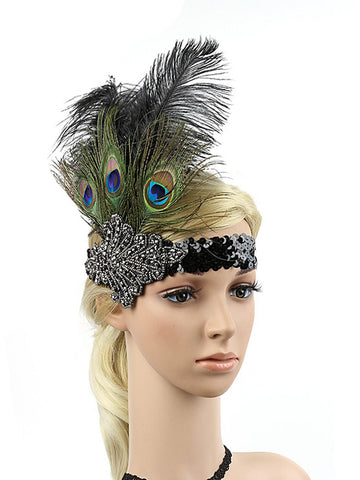 Black 1920s Peacock Feather Headband