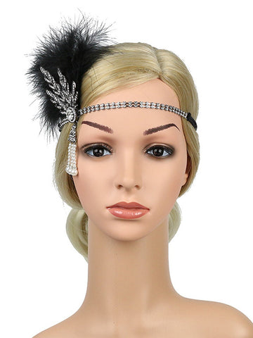 Silver 1920s Feather Rhinestone Headband