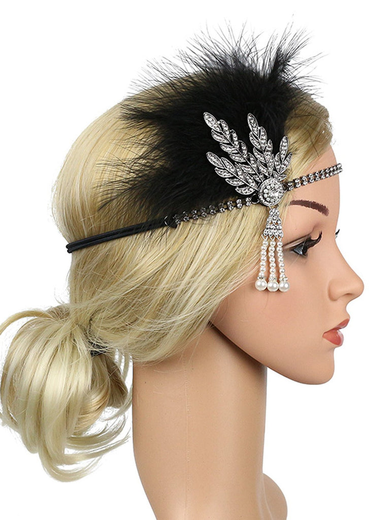 US Only Silver 1920s Feather Rhinestone Headband