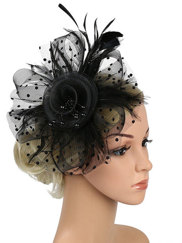 1920s Feather Mesh Beads Headband