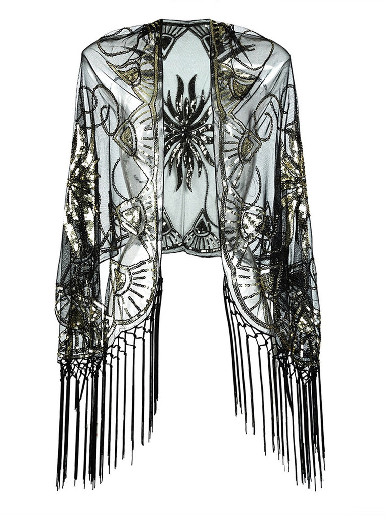 US Only Vintage Sequin Handmade Fringed Cape