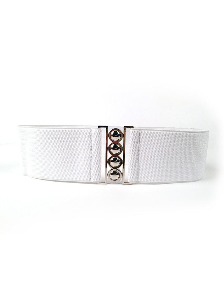 Retro Wide Elastic Stretch Buckle Waistband