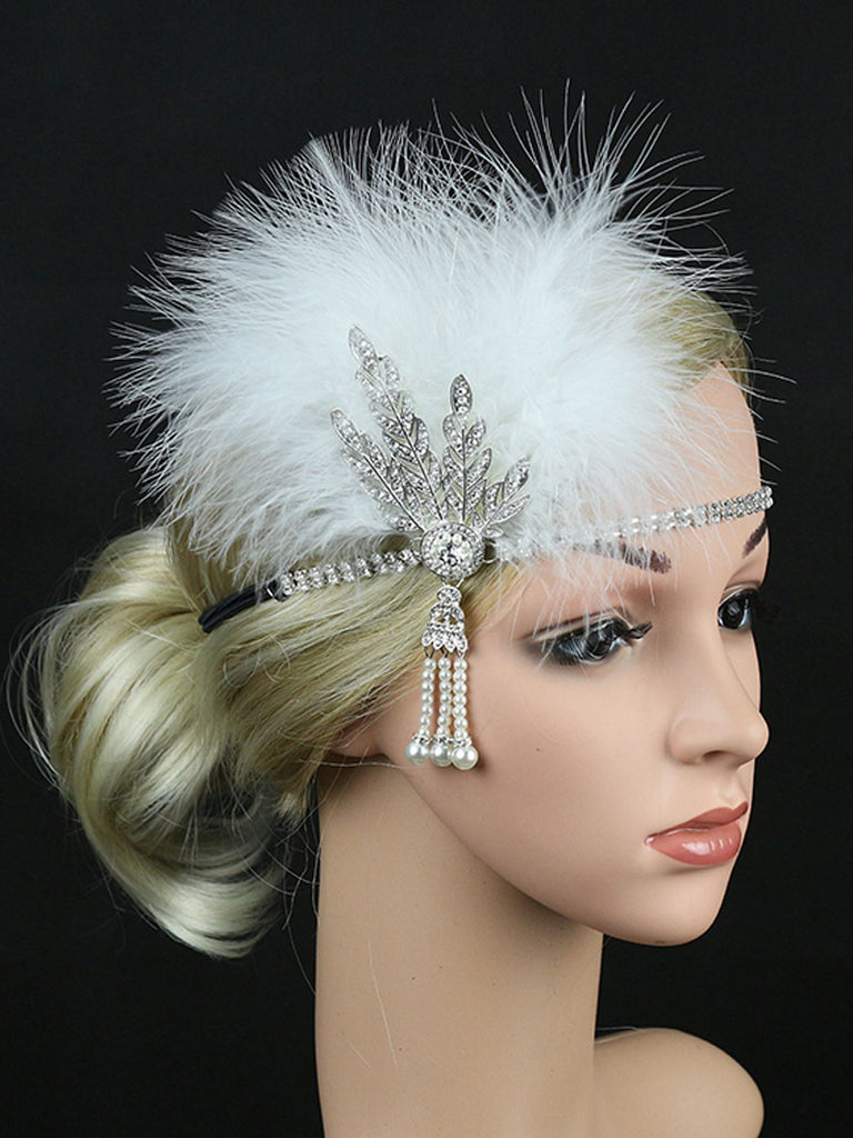 US Only 1920s Feather Rhinestone Flapper Headband