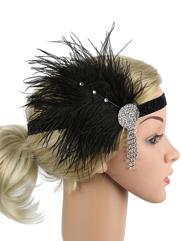 1920s Feather Rhinestone Flapper Headband