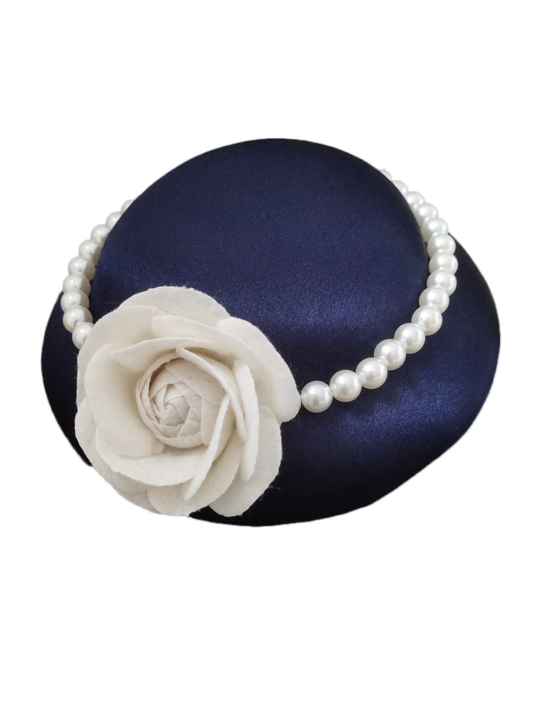 Retro Rose Pearl Wedding Hat