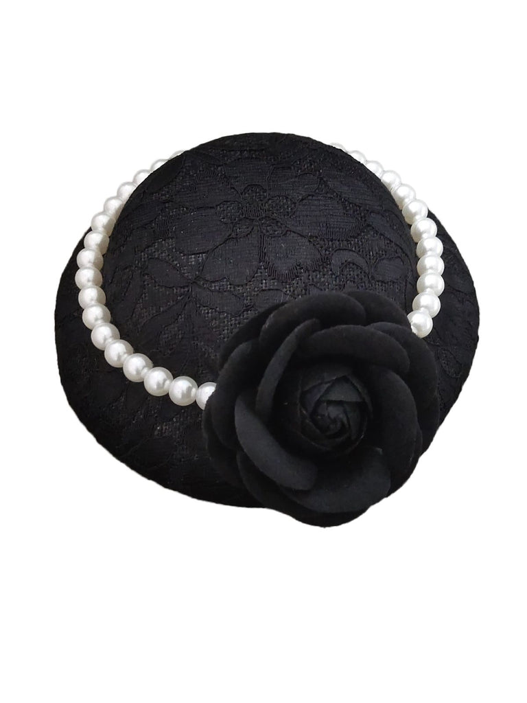 Rose Lace Pearl Wedding Hat