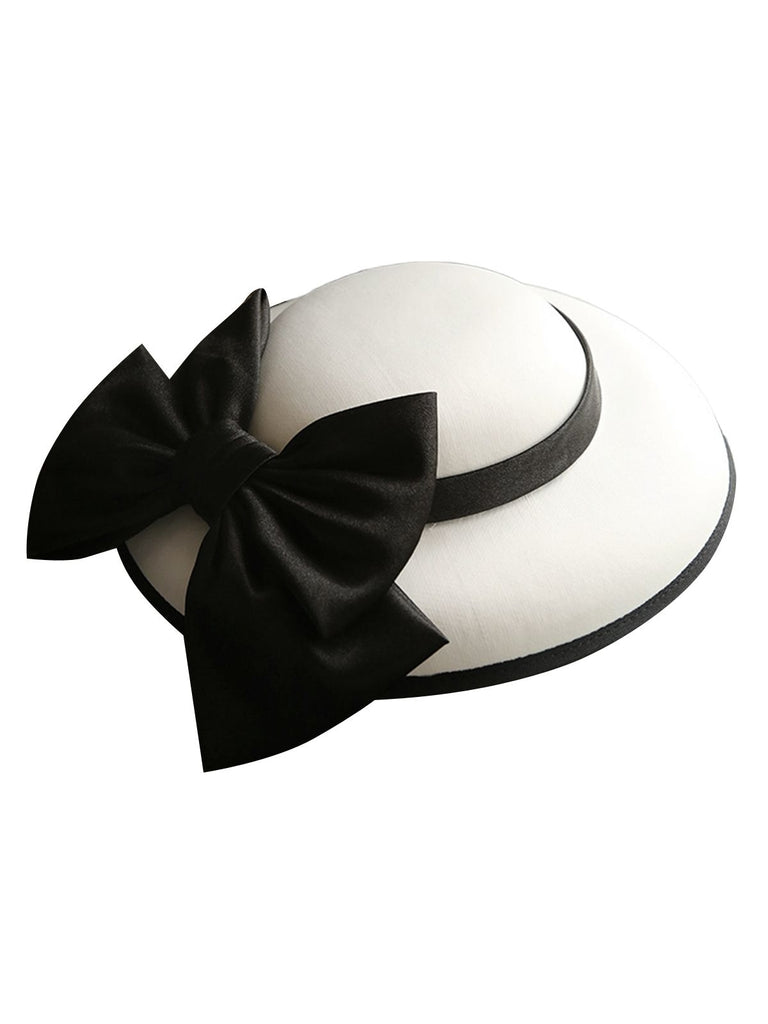 White Retro Bow Knot Wedding Hat