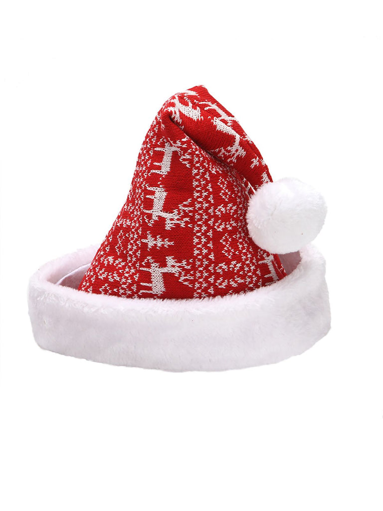 Red Snowflake Deer Plush-Knit Christmas Hat