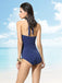 Stripe Patchwork Halter One-Piece Swimsuit
