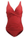 Solid Pleated Strap One-piece Swimsuit