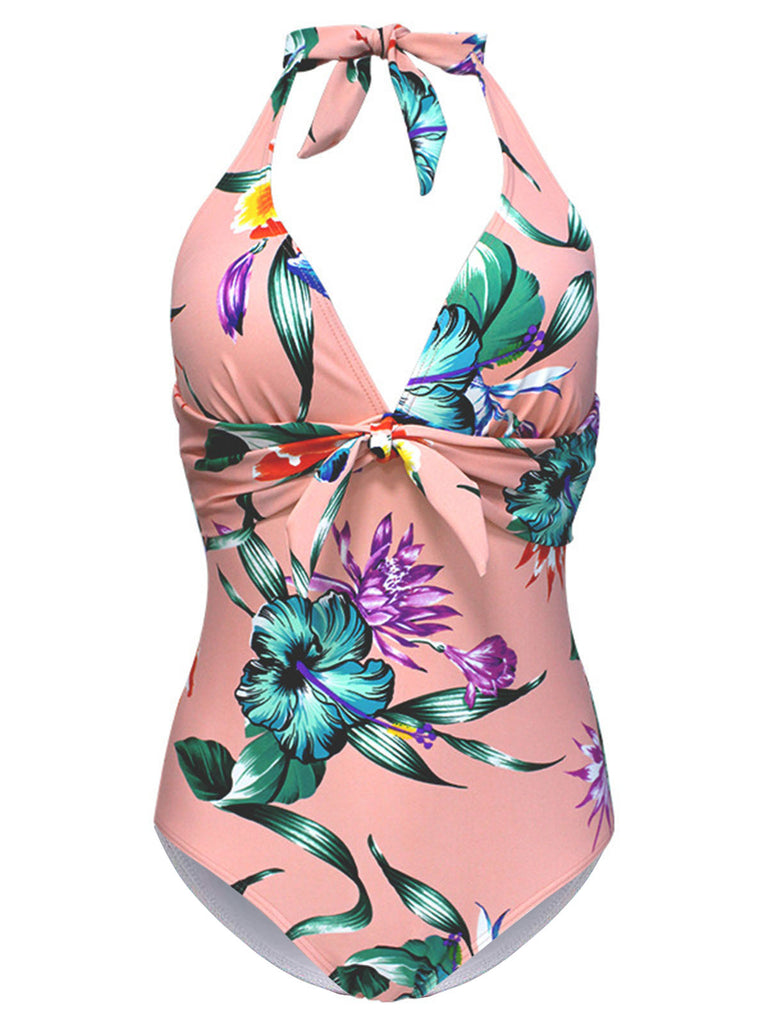Halter Floral One-Piece Swimsuit