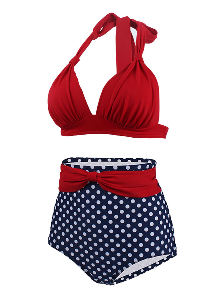 Polka Dot Pleated Halter Bikini