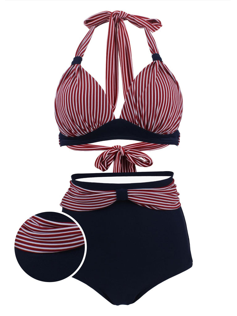 Navy Red Stripe Pleated Halter Bikini