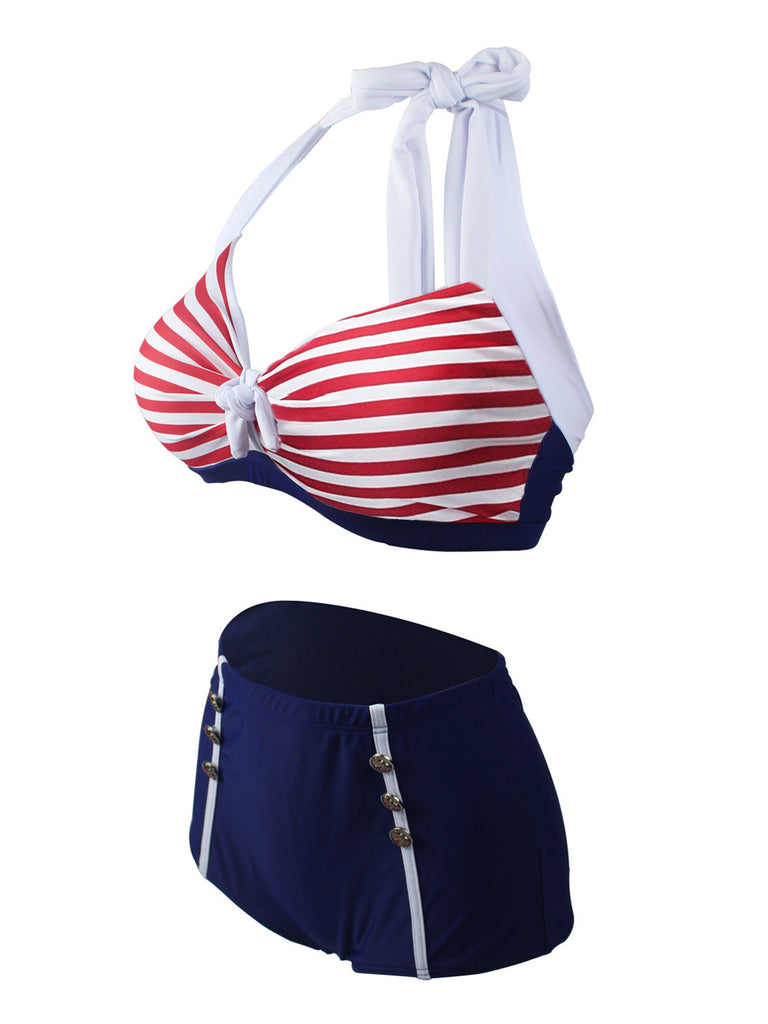Navy Red Stripe Halter Bikini