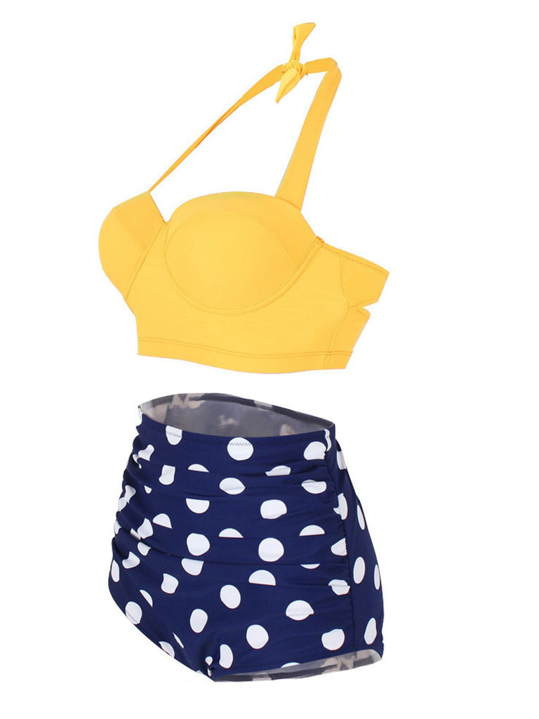 Polka Dot Halter Pleated Bikini