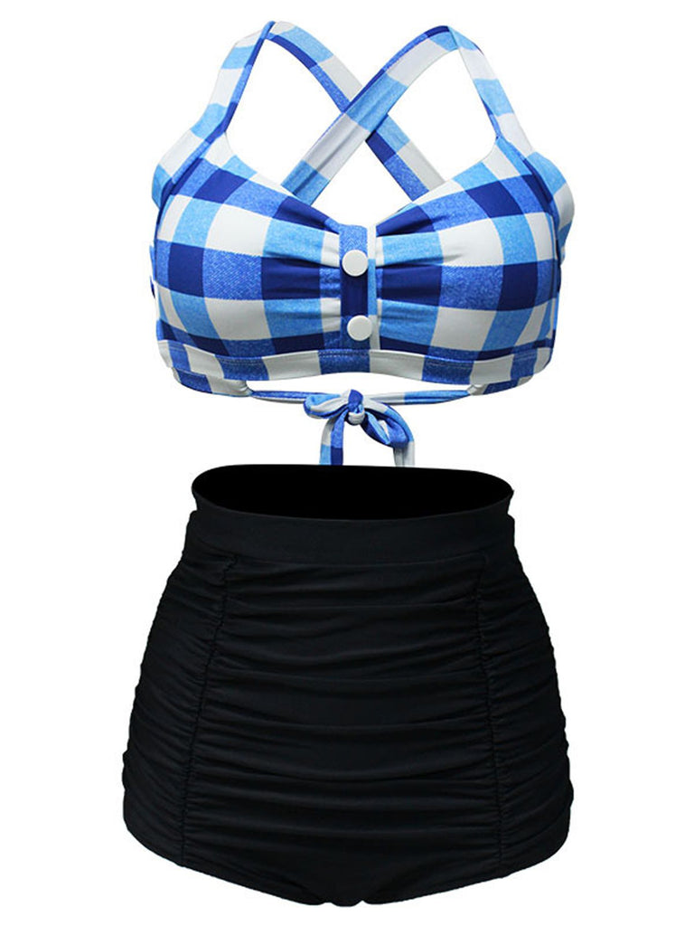 Plaid Criss Cross Pleated Bikini