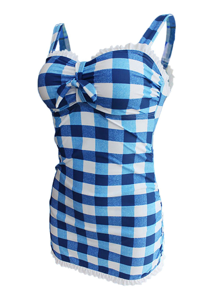 Plaid Bow Strap Ruffled Tankini