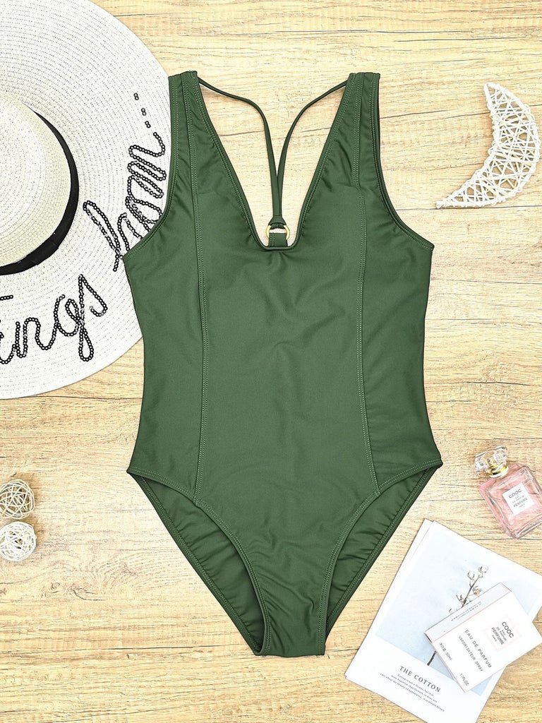 Solid Keyhole One-Piece Swimsuit