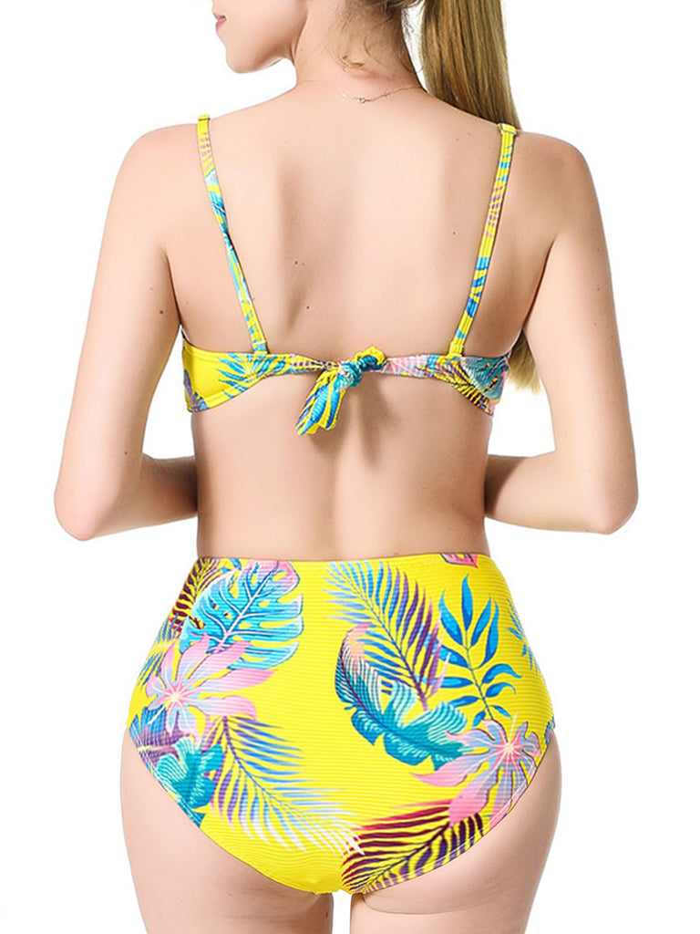 Yellow Tropical Plant Straps Bikini Set