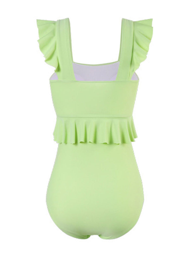 Retro Solid Ruffles One-Piece Swimsuit