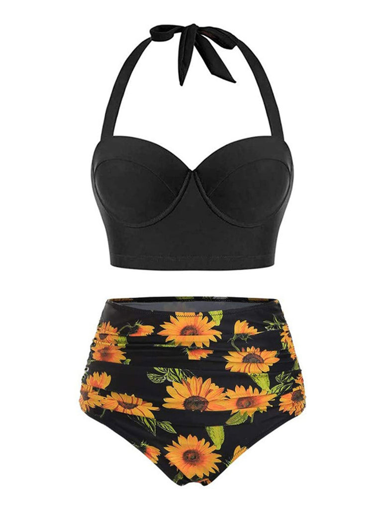 Halter Sunflower Pleated Bikini Set