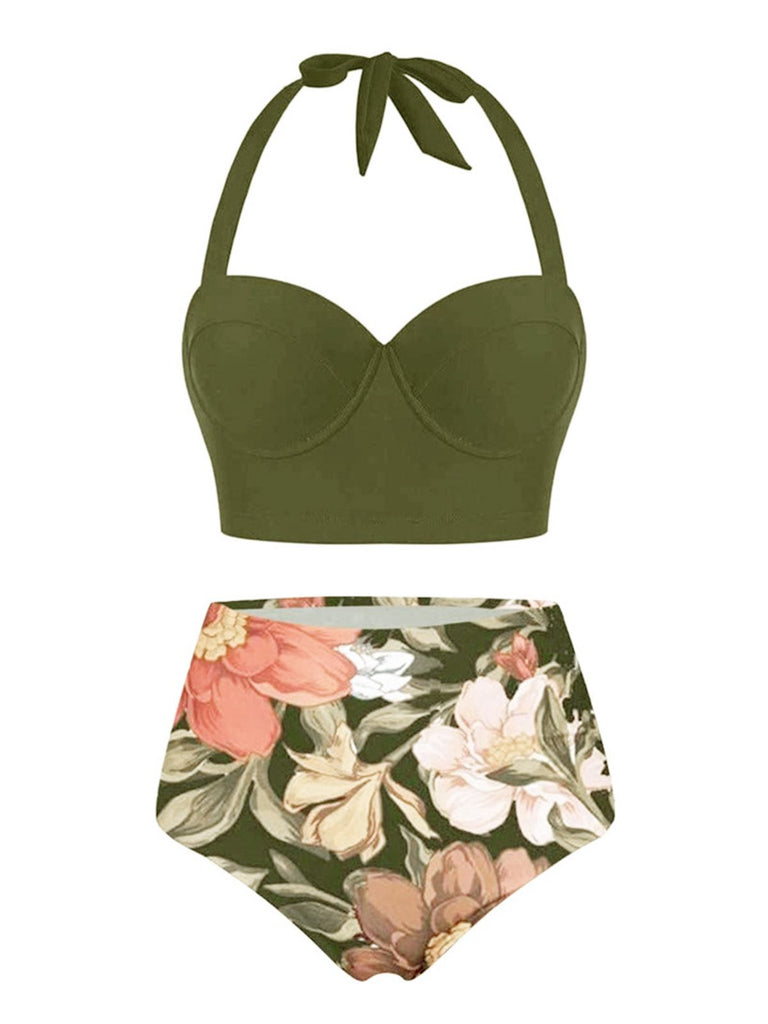 Olive Lace-Up Halter Flowers Bikini Set