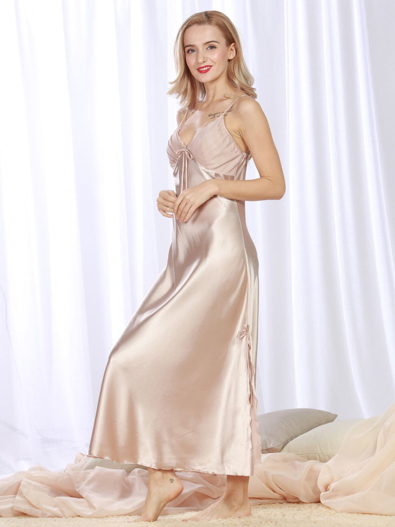 Retro Lace Silky Fold Nightgown