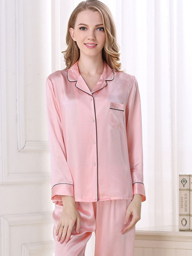 Solid Trimmed Silk Pajamas Set