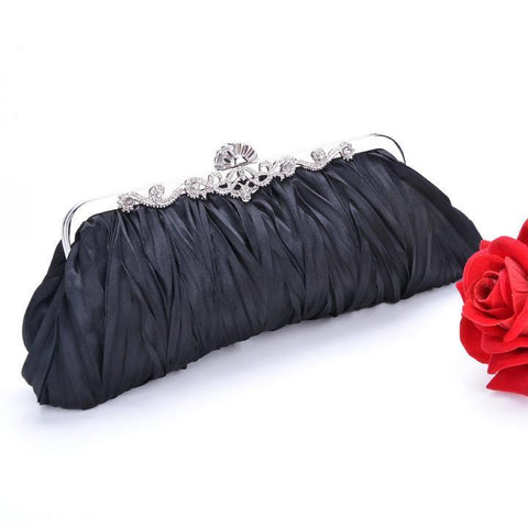 Black 1920s Satin Elegant Clutch Bag