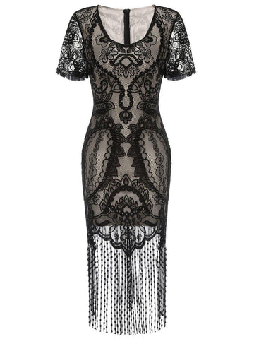 Black 1920s Fringe Lace Flapper Dress